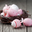 Stock Photo: Easter eggs in a nest