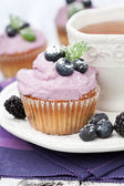 Blueberry cupcakes — Stock Photo