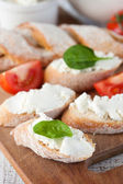 Baguette and cream cheese — Stock Photo