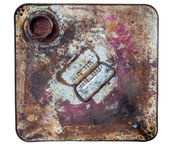The top side of rusty old bucket — Stock Photo