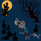 Halloween concept,zombie is going home with his pet — Stock Vector