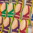 The stall of colourful sandals — Stock Photo