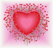 Fleurs en forme de coeur — Vecteur