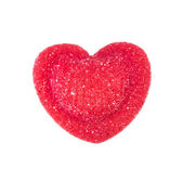 Red candy in heart shape — Stock Photo