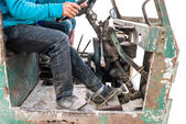 Driver with old rusty truck  — Stock Photo