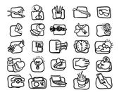Hand drawn, Art icon set — Stock Vector