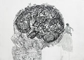 Drawing of human head contain a lot of stuff — Stock Photo