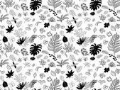 Seamless pattern drawing of leaves  — Vecteur