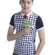 Smiling boy with Valentine red rose, isolated on white — Stock Photo