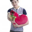 Smiling boy with Valentine red rose, isolated on white — Stock Photo #20107199