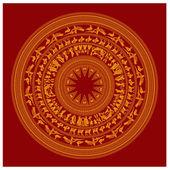 Simbolo di dettaglio di vietnam famoso design arte decorativa sulla superficie di cooper tradizionale tamburo — Vettoriale Stock