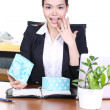 Asian beautiful business woman with gift in office and surprise — Stock Photo