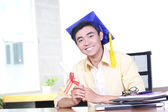 Young Asian graduation student guy — Stock Photo