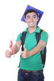 Asian student boy - isolated on white — Stock Photo