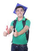 Aziatische student boy - geïsoleerd op wit — Stockfoto
