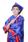 Young Asian graduation student guy - isolated on white — Stock Photo