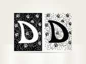 Vector ornamental letter D sign alphabet — Stock Vector