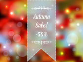 Autumn sale vector retro poster with abstract blurred fall — Vector de stock