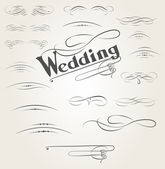 Vector set of calligraphic design elements for wedding cards — Stock Vector