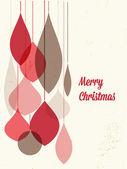 Ретро рождественская открытка с рождественскими украшениями — Cтоковый вектор