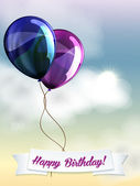 Happy birthday ballons greeting card blue and violet — Stock Vector