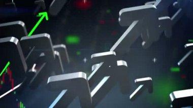Business arrows up loop — Stock Video