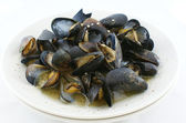 Cooked Mussels in White Wine Sauce — Stock Photo