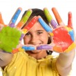 Young Girl With Hands Painted - Stock Photo