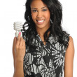 Young Businesswoman Holding Fluorescent Bulb — Stock Photo
