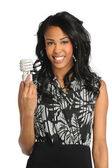 Young Businesswoman Holding Fluorescent Bulb — Stockfoto