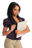 African American Businesswoman Holding Folder — Stock Photo