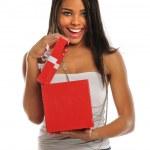 žena otevření krabičky — Stock fotografie