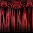 Red Stage Curtains - Stock Photo