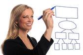 Affärskvinna ritade diagram — Stockfoto