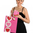 Young Woman Holding Shopping Bag and Gift Box — Stock Photo #13390335