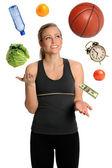 Woman Juggling Healthy Lifestyle — Stockfoto