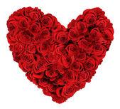 Coração em forma de buquê de rosas sobre fundo branco — Foto Stock