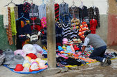 Street Clothing Vendor in Cajabamba, Peru — Stock Photo
