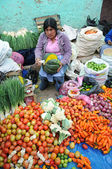 Vegetabiliska säljaren i peru — Stockfoto