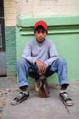 Poor Peruvian Shoe Shiner Boy — Stock Photo