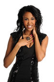 Portrait of Young Woman In black Dress — Stock Photo