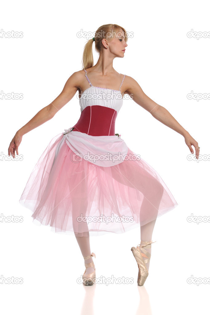 Young Ballerina dancing isolated over white background — Stock Photo #13576826