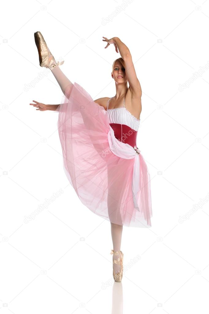 Beautiful ballerina performing isolated over white background — Stock Photo #13576829