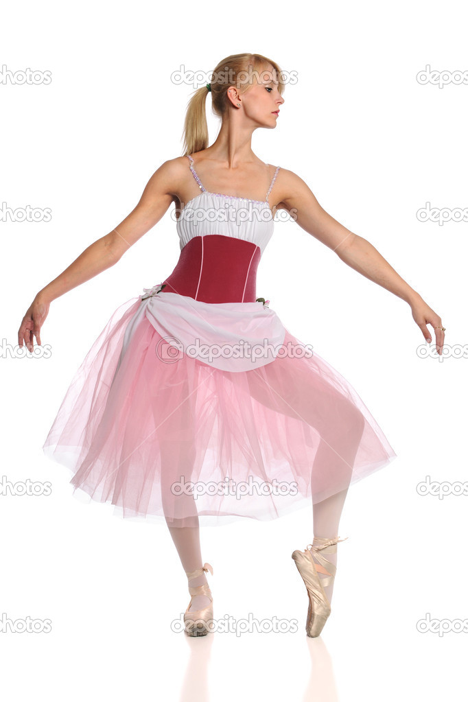 Young Ballerina dancing isolated over white background — Stock Photo #13576833