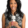 Businesswoman Holding Fluorescent Bulb — Stockfoto
