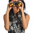 Woman Using Binoculars — Stock Photo