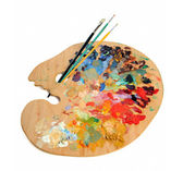 Artist Palette With Paintbrushes — Stock Photo