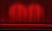 Large Red Curtain With Spotlights — Stock Photo