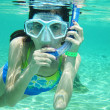 Stock Photo: Young Girl Snorkeling