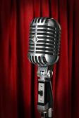 Vintage Microphone With Red Curtain — Stock Photo